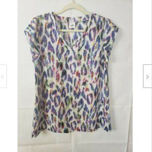 CAbi Feather Plum Animal Water Color Print Blouse